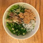 ひきわり納豆 しらす 蕎麦 サラダ