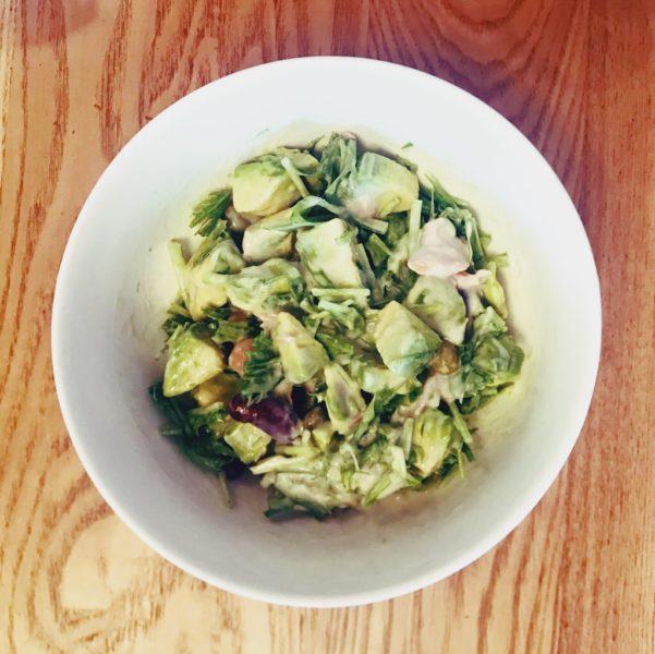 アボカド豆水菜ヨーグルトツナソース